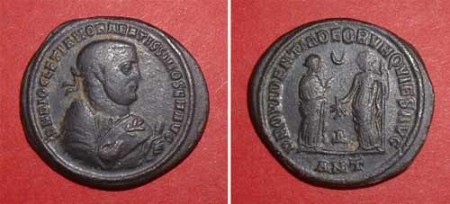 Follis (Diocletian),  Rv: Providentia and Quies