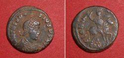 quarterfollis (Theodos. I.),  Rv: Emperor on horse