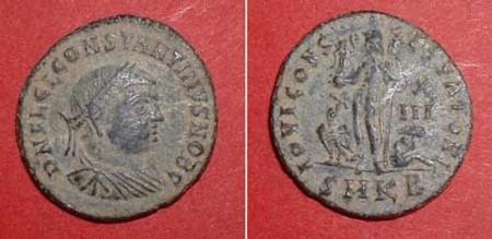 halffollis (Const. II.),  Rv: Jupiter with globe and Victory