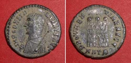 half-follis (Const. I.), Rv: castlegate New in stock