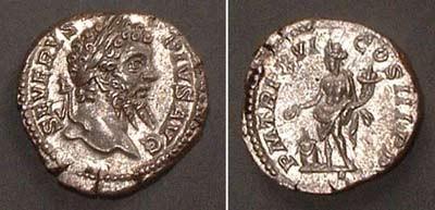 Denarius (Sept. Severus),  Rv: stdg. Genius