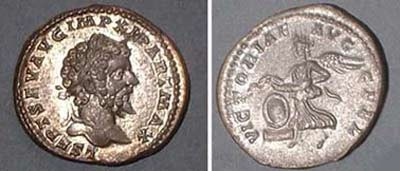 Denarius (Sept. Sev.),   Rv: Victoria	laureated head r., Revers: Victoria flying l.