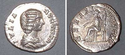 Denarius (Julia Domna),  Rv: seating Ceres