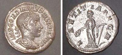 Denarius (Gordianus Pius),   Laetitia left standing