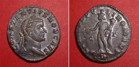 Follis (Constantius I.),  Rv: crowned Genius
