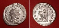 Antoninian (Philippus I.),  Rv: Roma seating	Av: drap. bust r., rad. head,